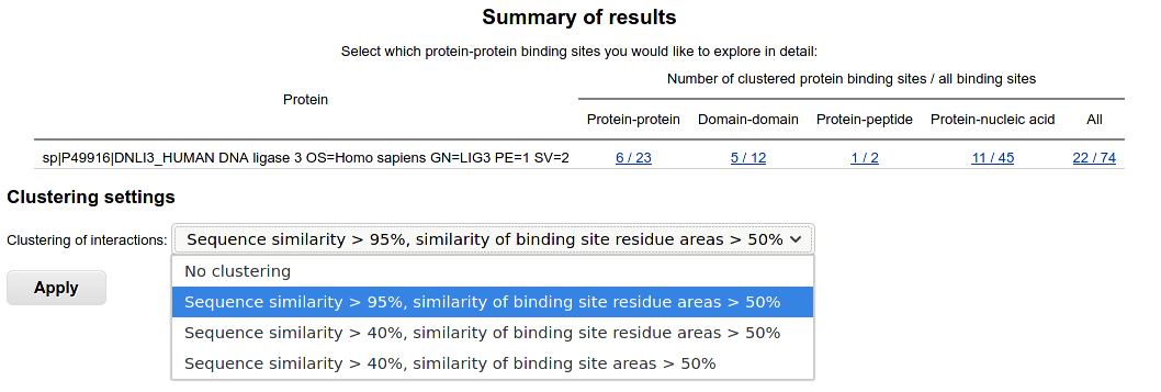 Results summary for single-sequence query